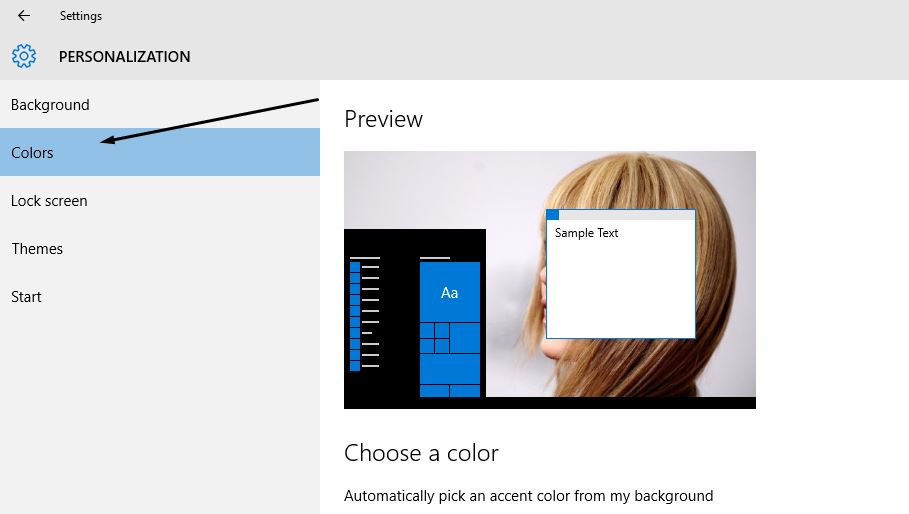 Colors Personalization Windows 10