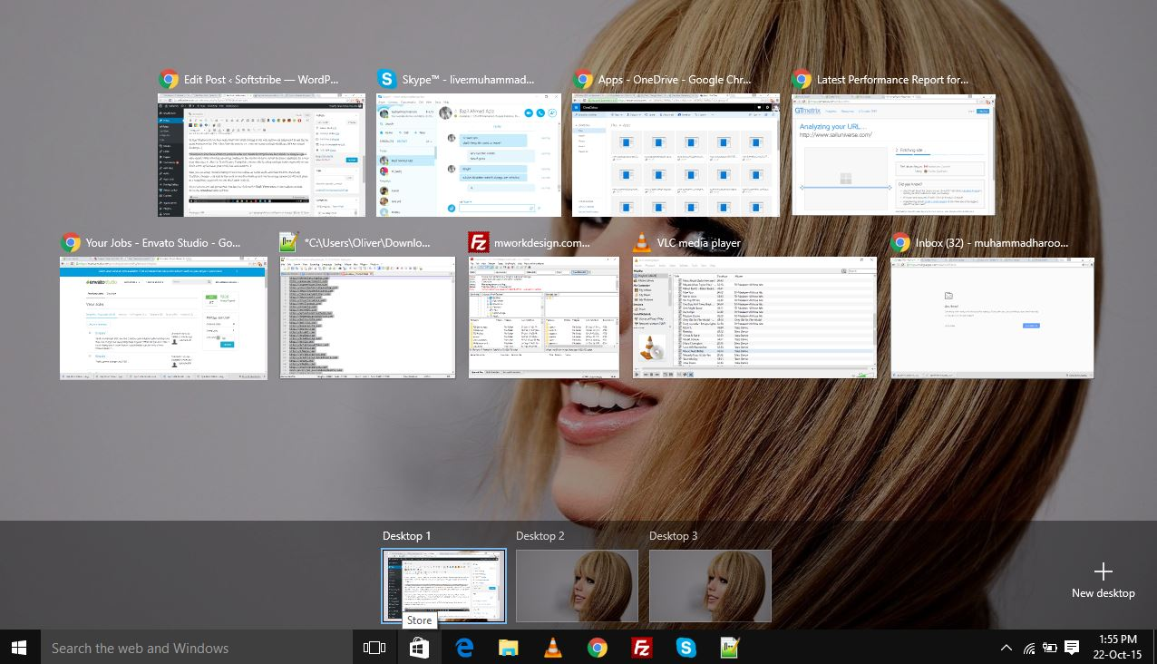 Task View Windows 10 - Create Multiple Desktops