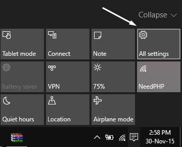 All Settings Windows 10