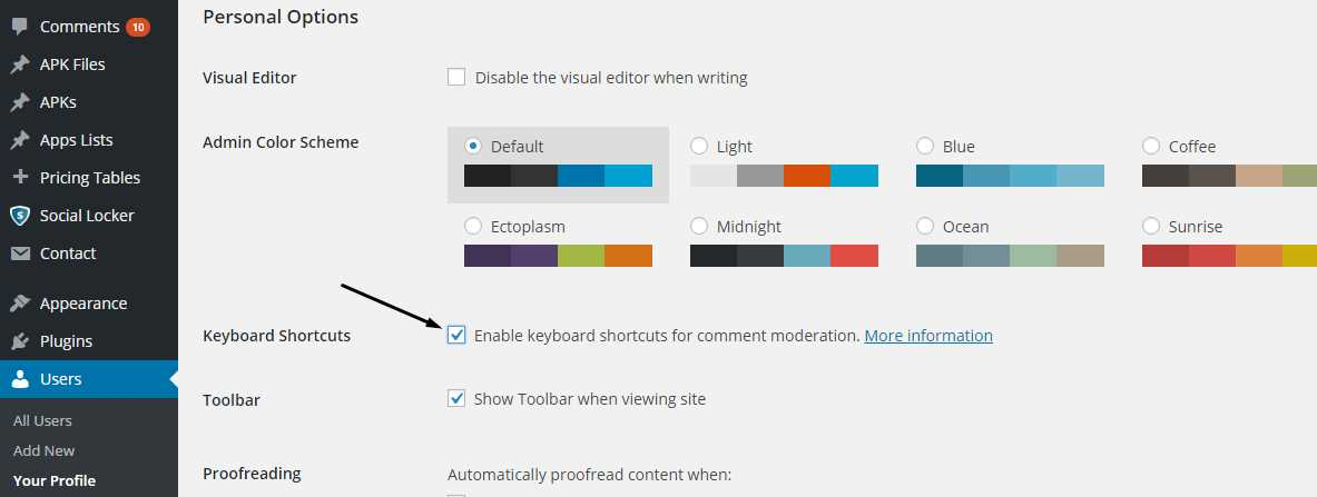 Enable Keyboard ShortCuts in Comments WordPress