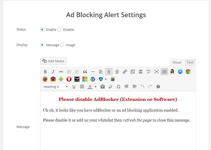 Ad Blocking Alert Plugin