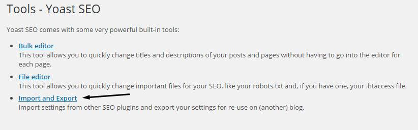 Import and Export Yoast Settings
