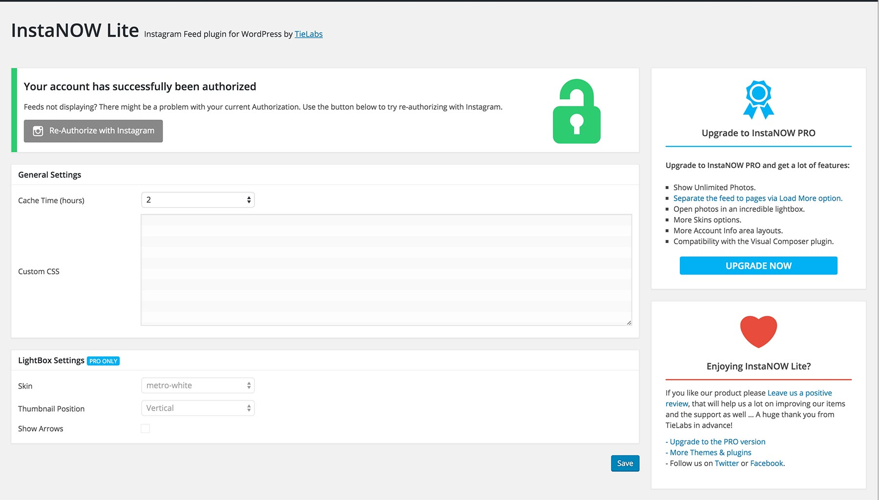 InstaNow Settings Page