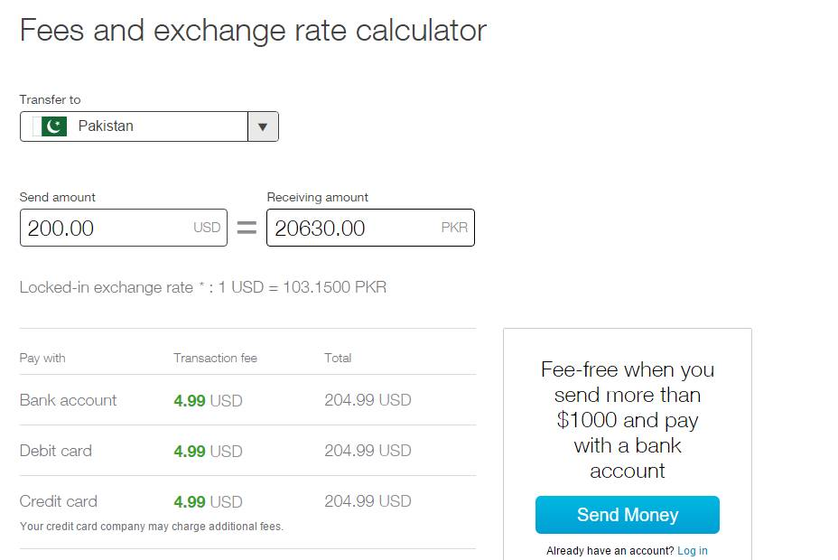 Xoom fees and exchange rate calculator