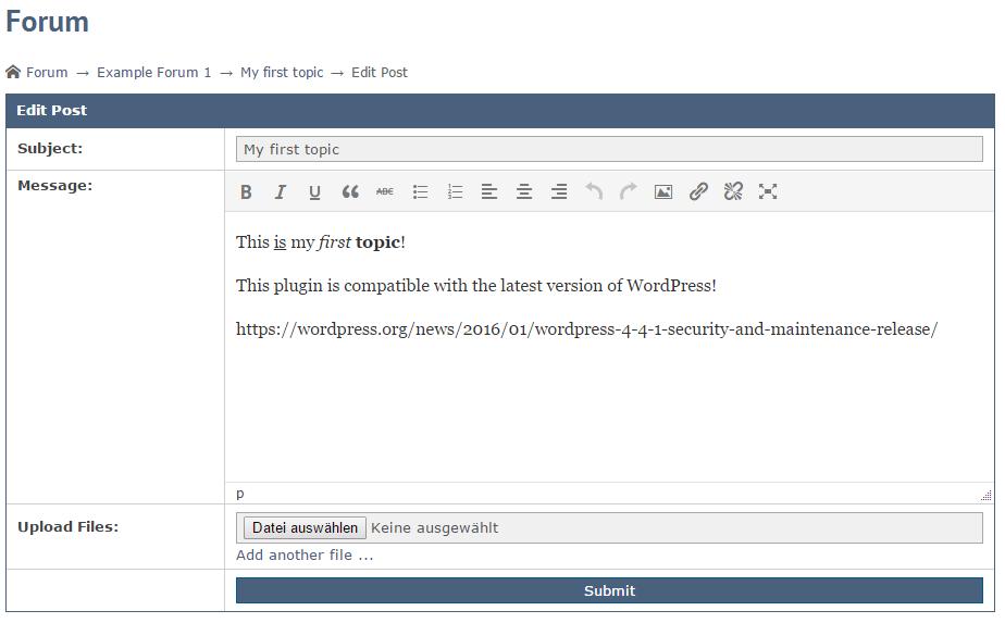 Asgaros Forum WordPress Screenshot