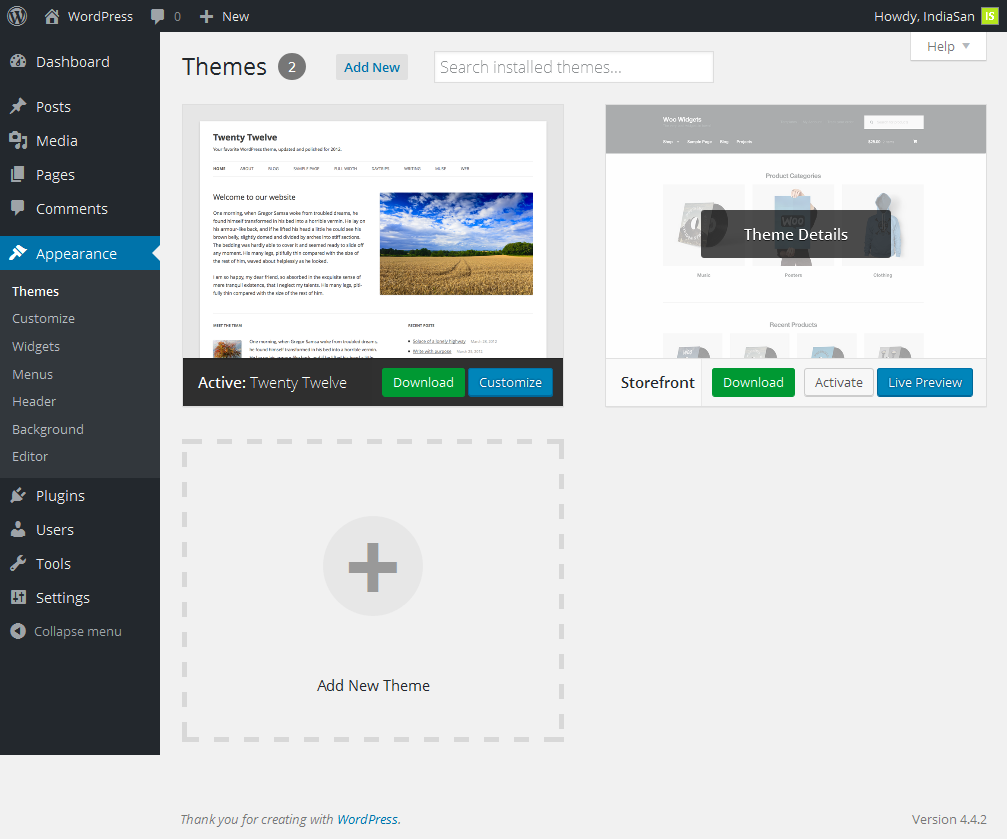 Download Theme Button in WordPress Appearance