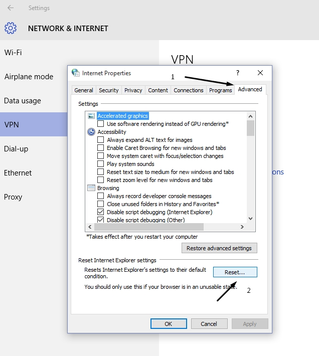 Internet Properties Windows 10