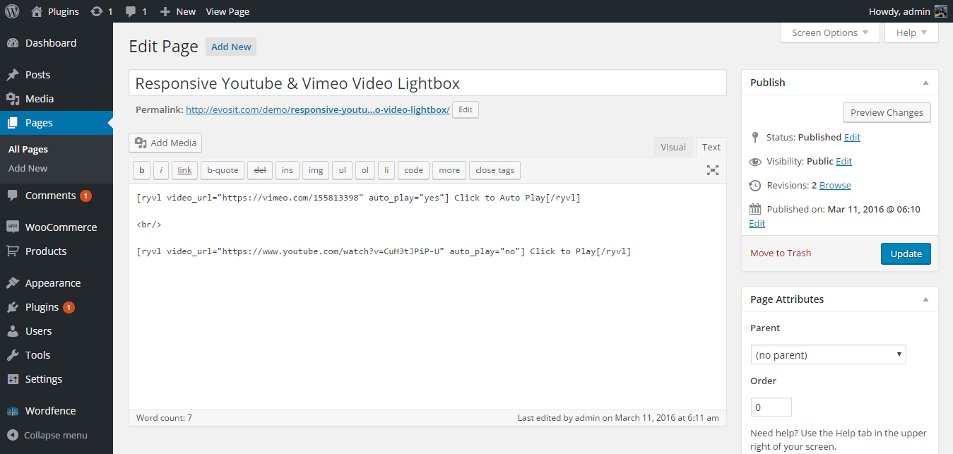 Responsive YouTube and Vimeo Lightbox WordPress