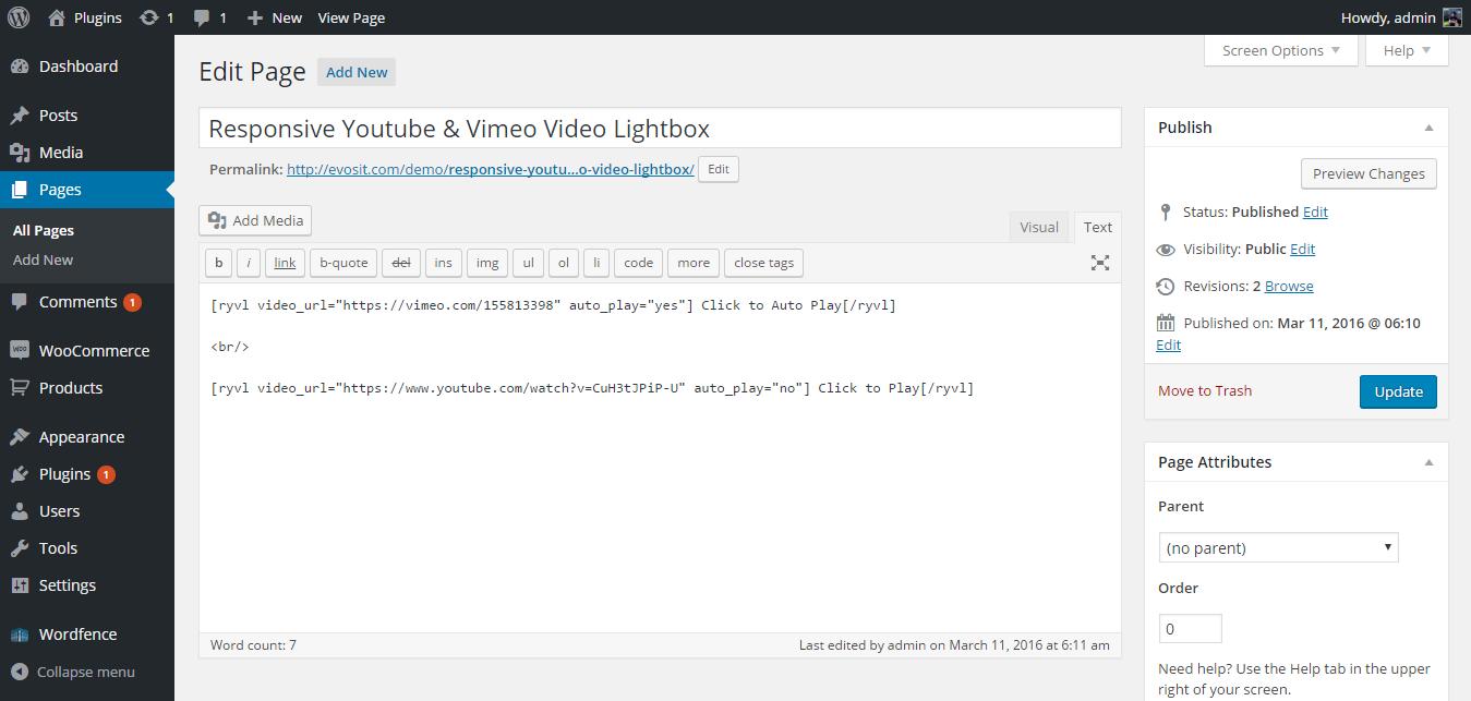Responsive YouTube and Vimeo Lightbox WordPress
