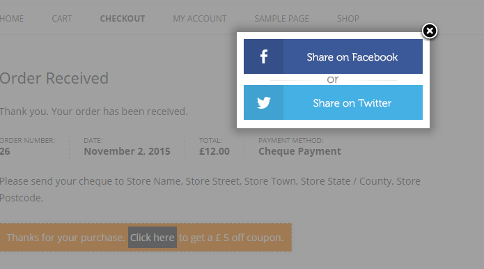 Discount on Social Share WooCommerce