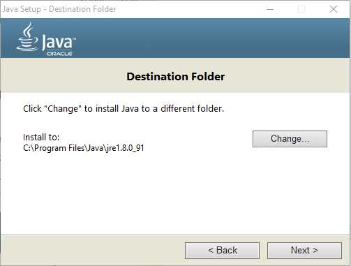 Destination folder must be for JAVA to get SDK