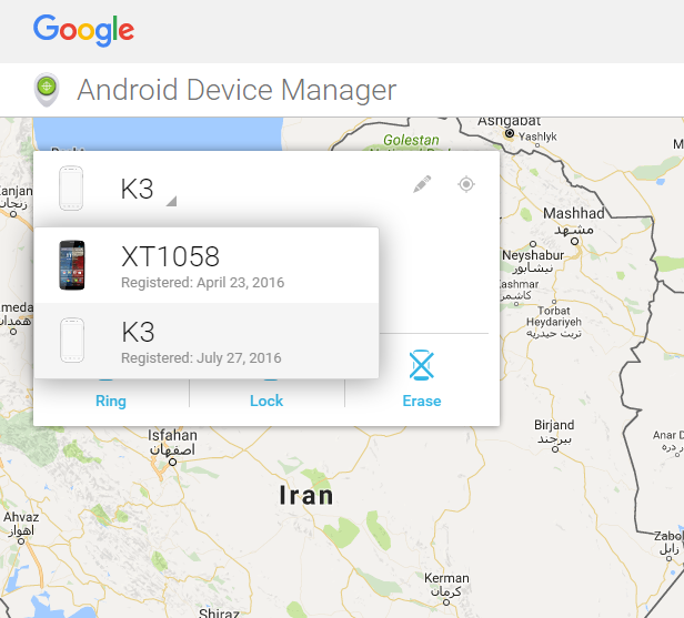 Android Device Manager Choose Device