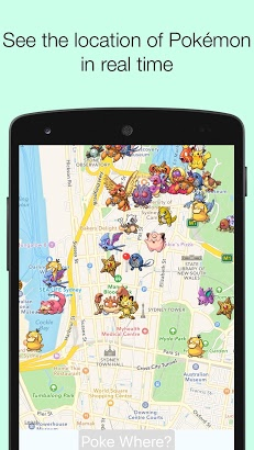 PokeWhere Realtime Pokeradar Android app