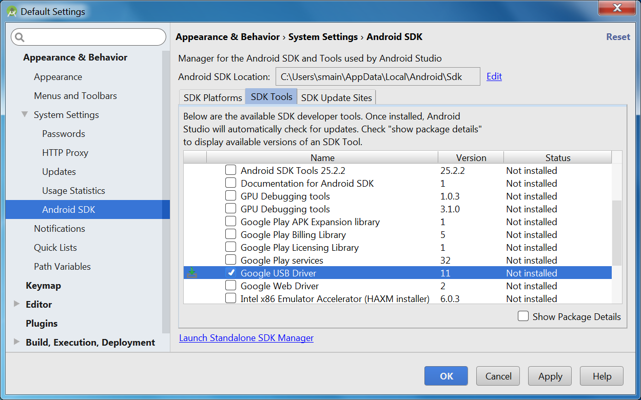 Google USB drivers via SDK Manager