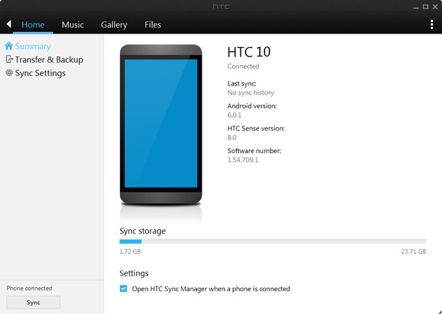 HTC Sync Manager Software interface